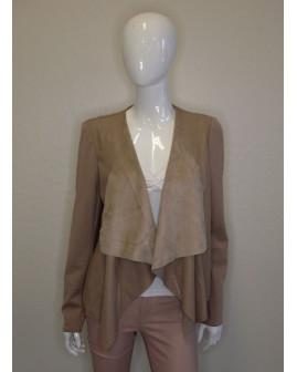 Sako Vero Moda béžové, vpredu koženkové, bez zapínania, veľ.XL