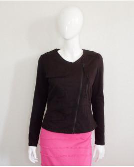 Sako čierne s tričkovými rukávmi, veľ.40