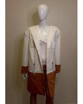 Kabátik Bonprix bielo-hnedý bez zapínania, veľ.54