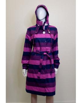 Kabátik fialovo-modrý pruhovaný s kapucňou, veľ.L