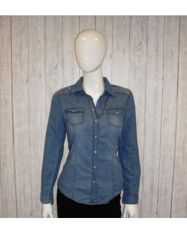 Košeľa Esmara rifľová modrá, s trblietkami na ramenách, veľ.38