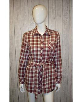 Košeľa Yessica fialová károvaná, s opaskom, veľ.40