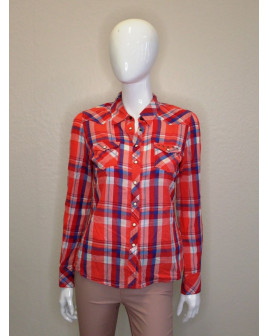 Košeľa Tommy Hilfiger červená károvaná, veľ.S