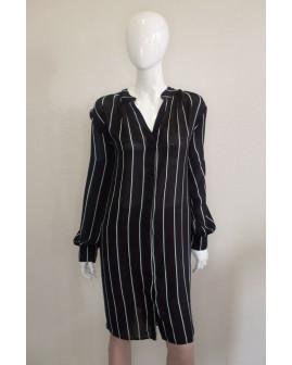 Košeľové šaty H&M čierne prúžkované, veľ.54