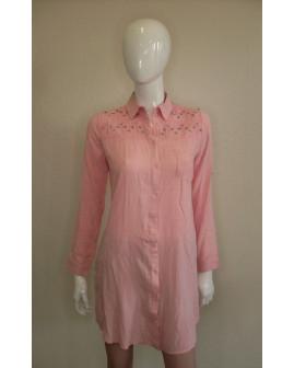 Košeľové šaty ružové s kamienkami, veľ.M