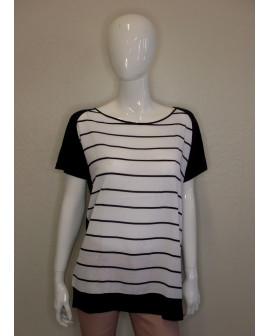 Tričko Blue Motion biele prúžkované, vzadu tmavomodré, veľ.M