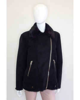 Bunda H&M čierna, zvnútra kožušina, veľ.40