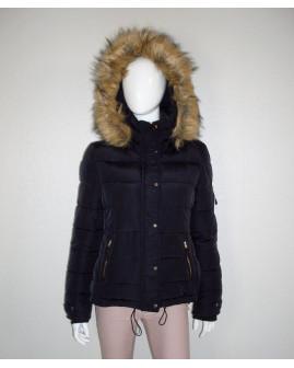 Bunda Pimkie čierna s kapucňou s kožušinkou, veľ.L