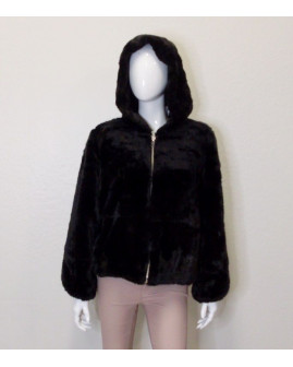 Krátky kožuštek Zara čierny, s kapucňou, veľ.L