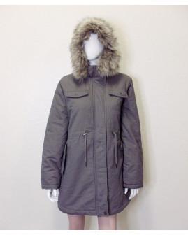 Bunda Up Fashion sivá s kapucňou s kožušinou, veľ.XL