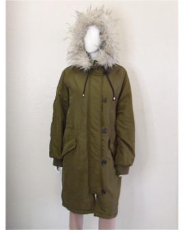 Bunda H&M zelená s kapucňou s kožušinou, veľ.L
