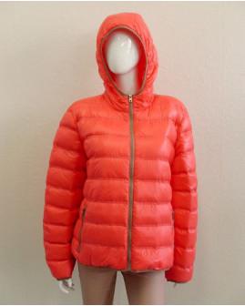 Bunda oranžová prešívaná, s kapucňou, mierne zateplená, veľ.46