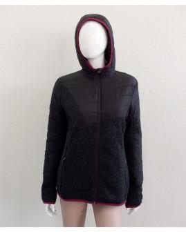 Bunda čierna, zčasti úpletová, s kapucňou, veľ.M