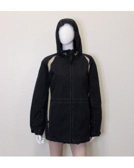 Bunda čierna s kapucňou, mierne zateplená, veľ.50