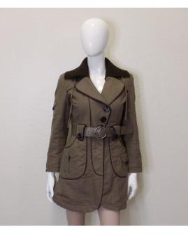 Kabátik Vero Moda hnedý, s opaskom, mierne zateplený, veľ.S