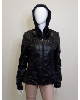 Bunda koženková čierna s odopínateľnou kapucňou, veľ.L