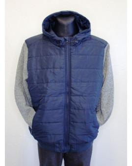 Bunda Identic modrá s kapucňou, úpletové rukávy, veľ.XL