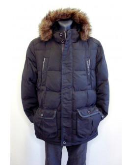 Bunda s´Oliver čierna s kapucňou s kožušinou, veľ.XL