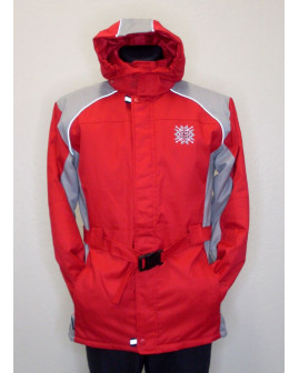 Bunda červeno-sivá s kapucňou a opaskom, veľ.176
