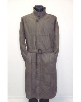Kožený kabát dlhý s opaskom, vnútri kožušina, veľ.50