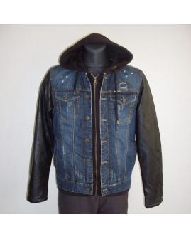 Bunda rifľová modrá s koženkovými rukávmi, s kapucňou, zateplená, veľ.L