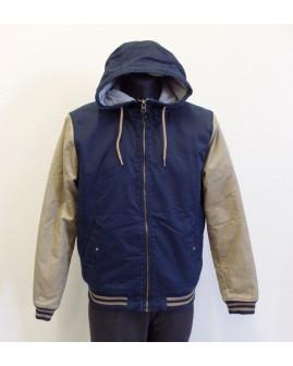 Bunda H&M modro-hnedá s kapucňou, veľ.L
