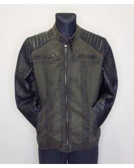 Bunda Cipo & Baxx zeleno-čierna s koženkovými rukávmi, mierne zateplená, veľ.L