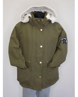 Bunda H&M zelená s kapucňou, veľ.146