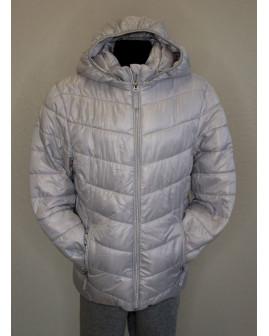 Bunda H&M sivá prešívaná s kapucňou, veľ.152