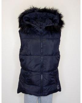 Vesta H&M tmavomodrá s kapucňou s kožušinou, veľ.158/164
