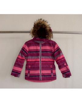 Bunda Topolino fialovo-ružová prúžkovaná, s kapucňou s kožušinkou, veľ.116