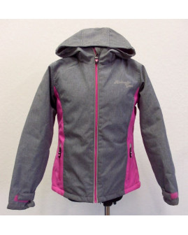 Bunda Y.F.K softshellová sivo-ružová s kapucňou, zateplená, veľ.134/140