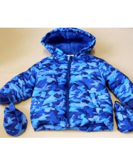 Bunda Ergee modrá s maskáčovým vzorom, s kapucňou a rukavicami, veľ.86