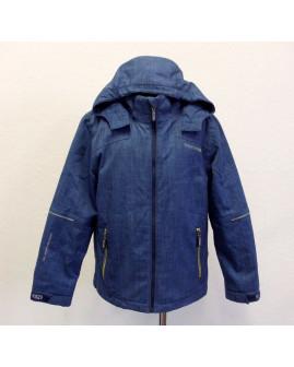 Bunda Raintex softshellová modrá s kapucňou, mierne zateplená, veľ.140
