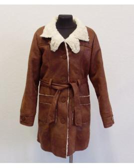 Kabátik Zara hnedý semišový s opaskom, zvnútra kožušinka, veľ.152