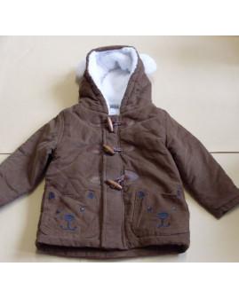 Kabátik Topomini hnedý s kapucňou, zvnútra kožušinka, veľ.80