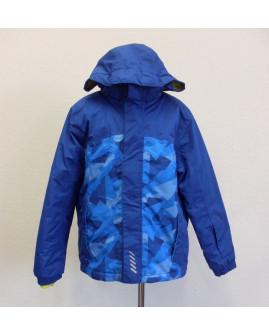 Bunda Crivit modrá s maskáčovým vzorom, s kapucňou, veľ.146/152