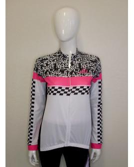 Cyklistický dres dámsky biely s potlačou, veľ.XL