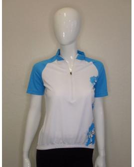 Cyklistický dres Crane dámsky bielo-modrý so vzorom, veľ.38