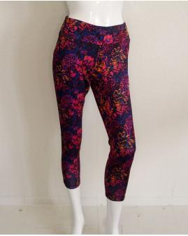 3/4 cyklistické nohavice Crivit dámske modro-ružové kvetované, veľ.M
