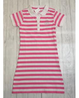 Tričkové šaty Tchibo ružovo-biele prúžkované, veľ.134/140