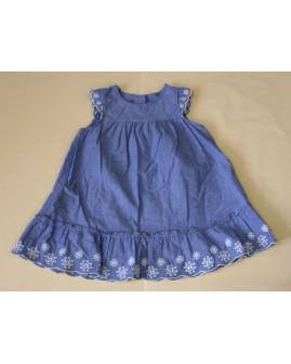 Šaty H&M modré s výšivkou, veľ.86