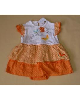 Šaty s všitými nohavičkami bielo-oranžové s obrázkami, veľ.3M