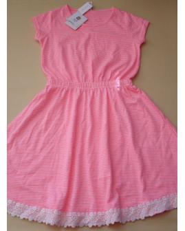 Šaty Yigga ružové prúžkované s čipkou, veľ.134/140