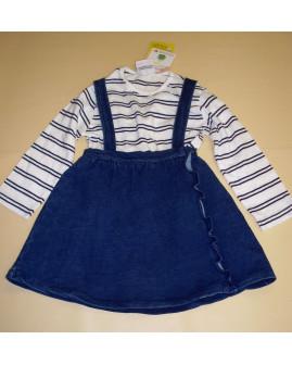 Súprava Topomini - tričko + sukňa na traky bielo-modré, veľ.74