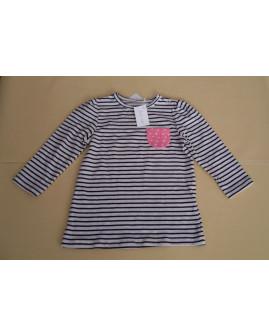 Tričko Topomini bielo-čierne prúžkované, veľ.80