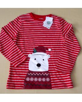 Tričko Topolino červené prúžkované s vianočným motívom, veľ.128