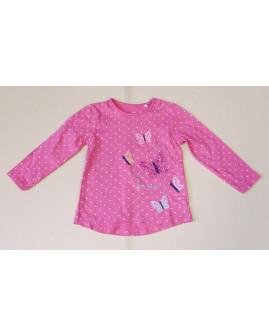 Tričko Topomini ružové bodkované s motýľmi, veľ.86