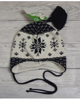 Detská čapica bielo-čierna vzorovaná