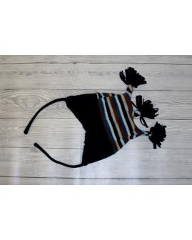 Detská čapica čierna pásiková
